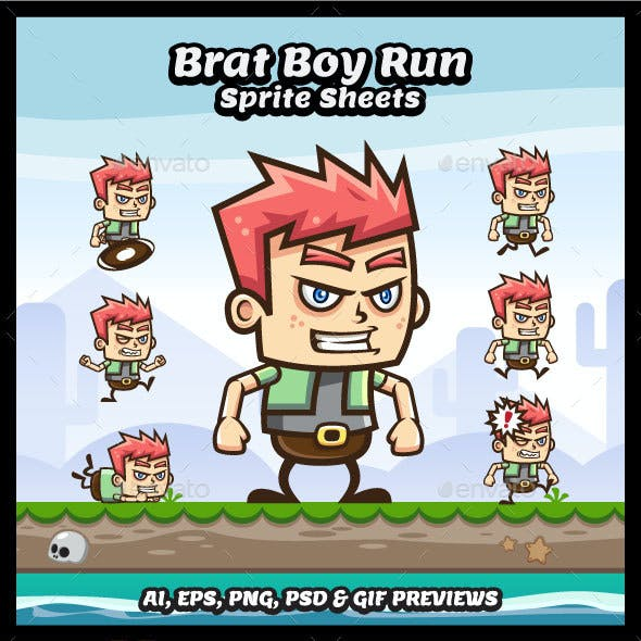 Angry Bray Boy Game Character Sprite Sheets