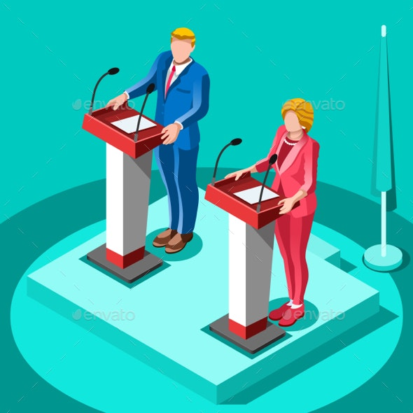 Election Infographic Political Rally Vector Isometric People - Vectors