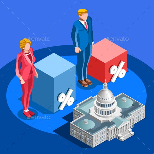 Election Infographic Pools Candidate Vector Isometric People - Vectors