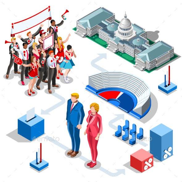 Election Infographic Us Politics Vector Isometric People