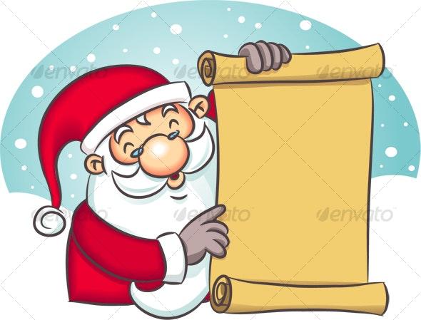 Santa Holding List - Characters Illustrations