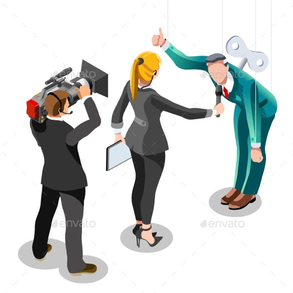 Election News Infographic Politics System Vector Isometric People