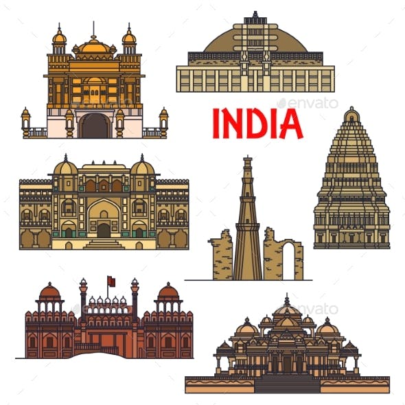 Travel Landmarks Of Indian Architecture Icon