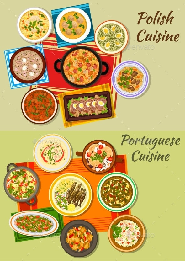 Portuguese And Polish Cuisine Icon For Food Design - Food Objects