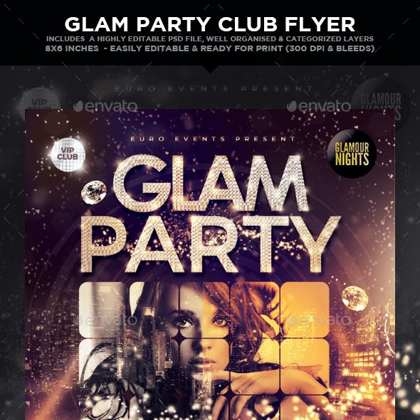 Glam Party Club Flyer