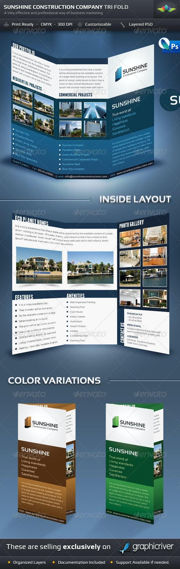 Sunshine Construction Company Tri Fold Brochure - Corporate Brochures