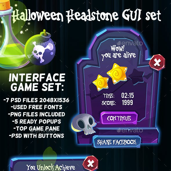 Scary Stone Halloween Headstone GUI Set
