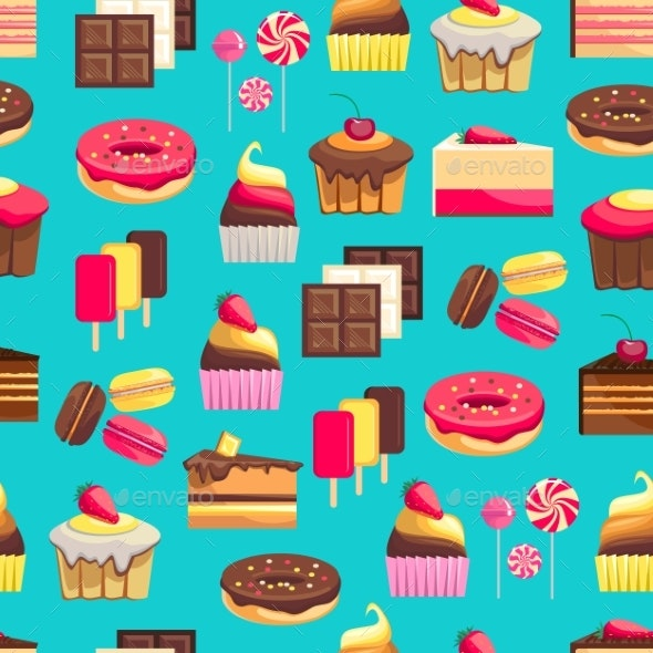 Seamless Pattern With Sweet Dessert Objects - Birthdays Seasons/Holidays