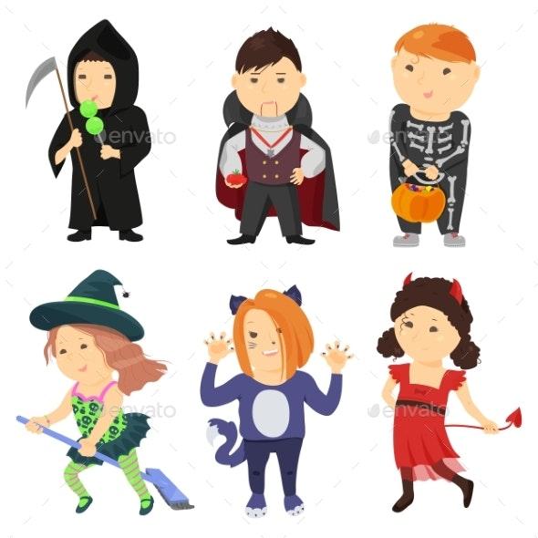 Cute Cartoon Kids In Halloween Costumes - Monsters Characters