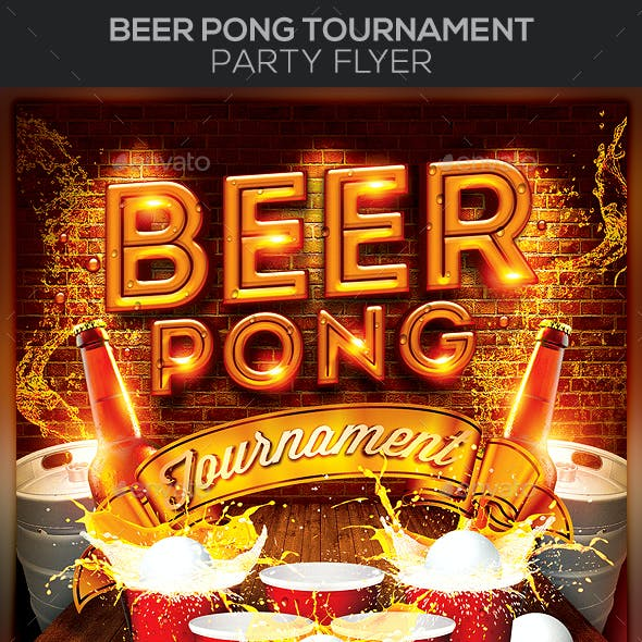 Beer Pong Tournament Party Flyer