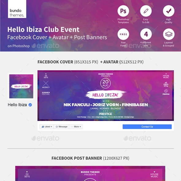 Hello Ibiza Club Event Facebook Cover and Post Banners