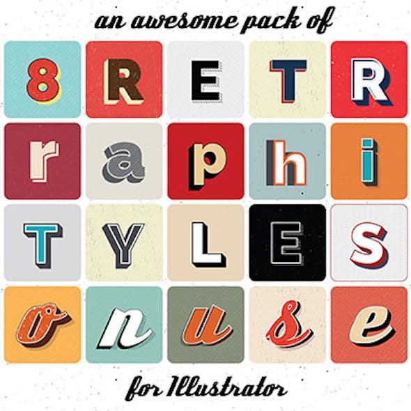 Retro graphic styles for Illustrator