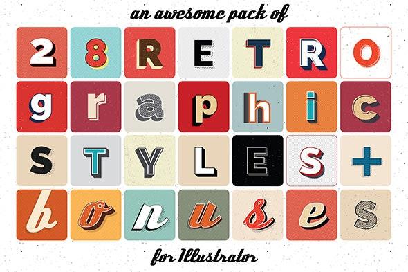 Retro graphic styles for Illustrator - Styles Illustrator
