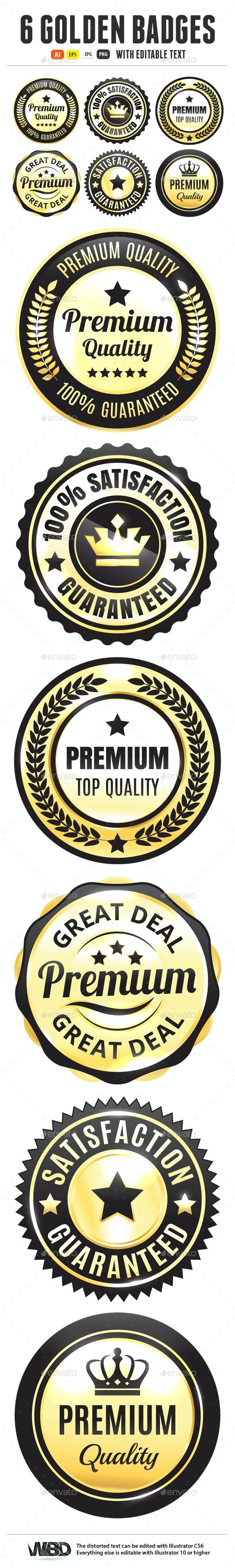 Golden Premium Quality Badges - Badges & Stickers Web Elements