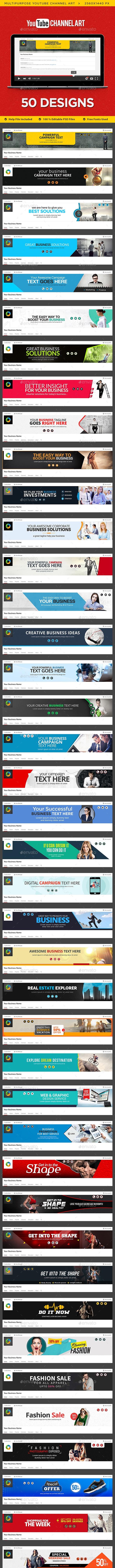 Multipurpose Youtube Channel Art - 50 Designs - YouTube Social Media