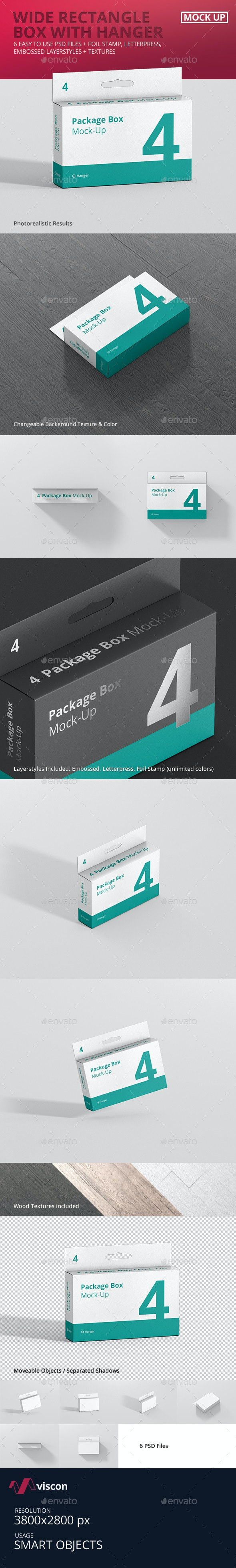 Package Box Mock-Up - Wide Rectangle with Hanger - Miscellaneous Packaging