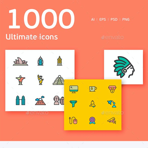 Vector line icon 1000 set