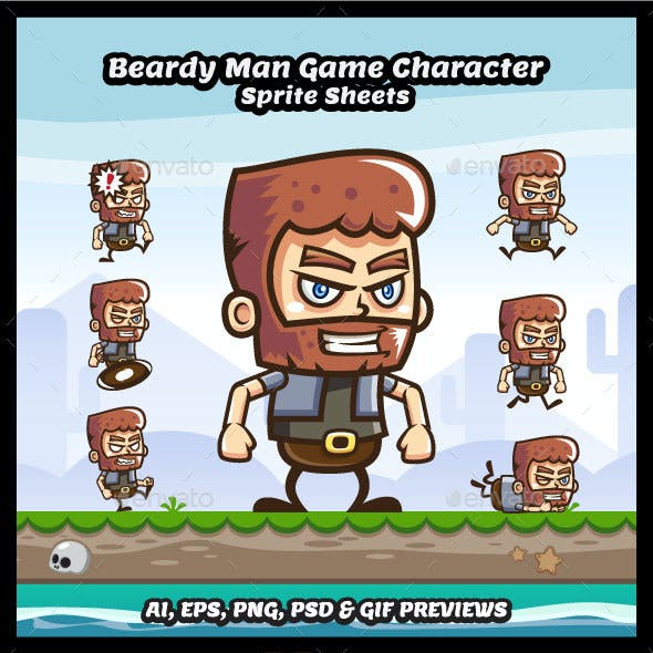Beardy Man Game Character Sprite Sheets