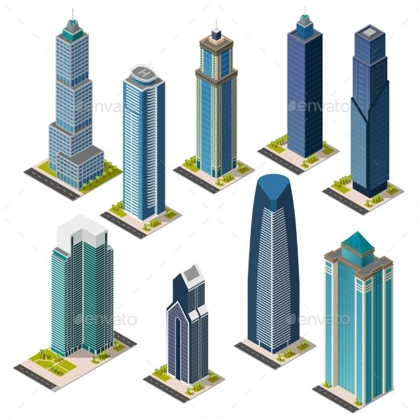 Isolated Isometric City Skyscraper Office Building