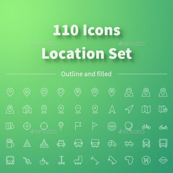 LOCATION icons set. 110 outline and filled icons.