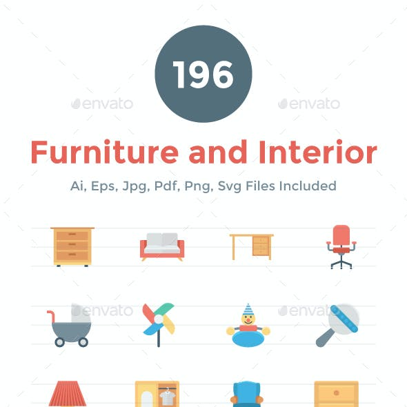 196 Flat Furniture and Interior Icon