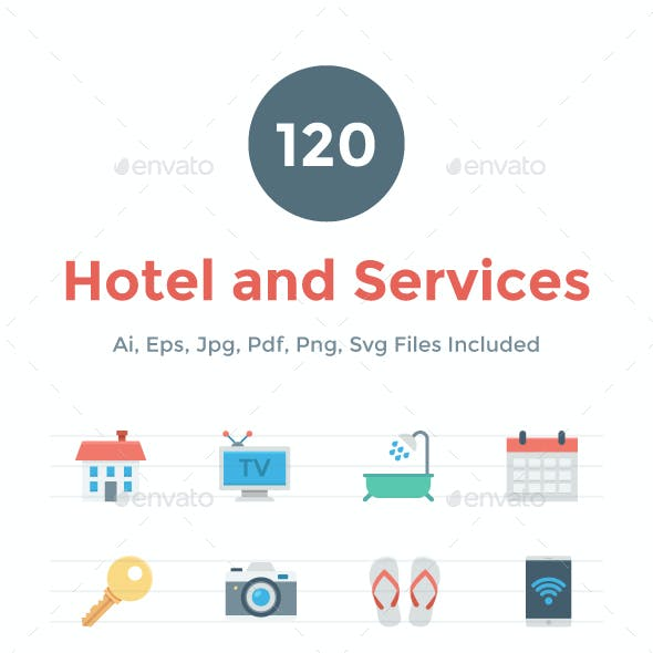 120 Flat Hotel and Services Icons