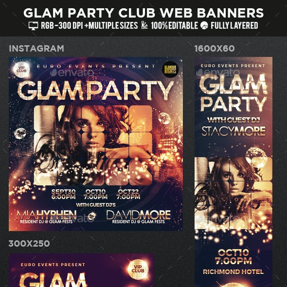 Glam Party & Club Event Social Web Banners