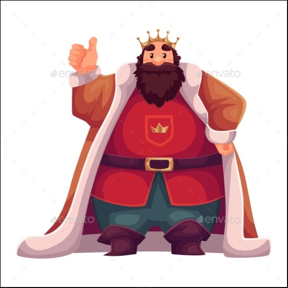 King in Crown and Mantles Happy