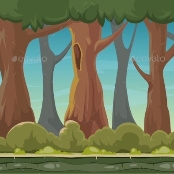 Cartoon Seamless Forest Vector Background