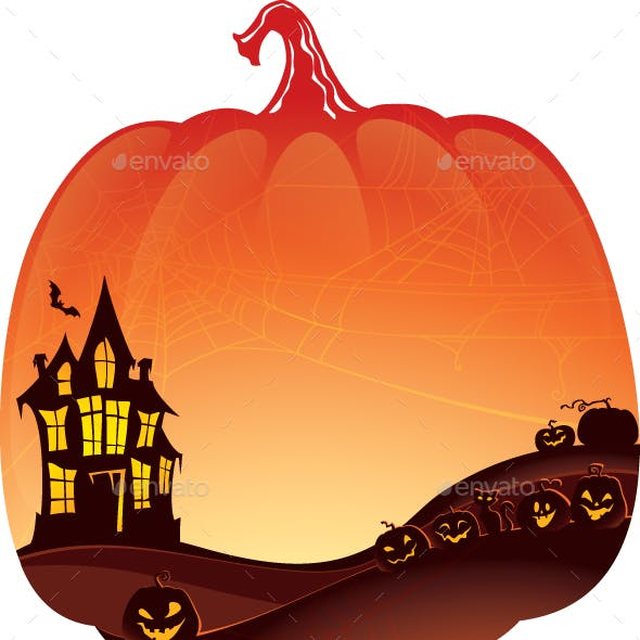 Halloween Double Exposure Background with Haunted House and Pumpkins.