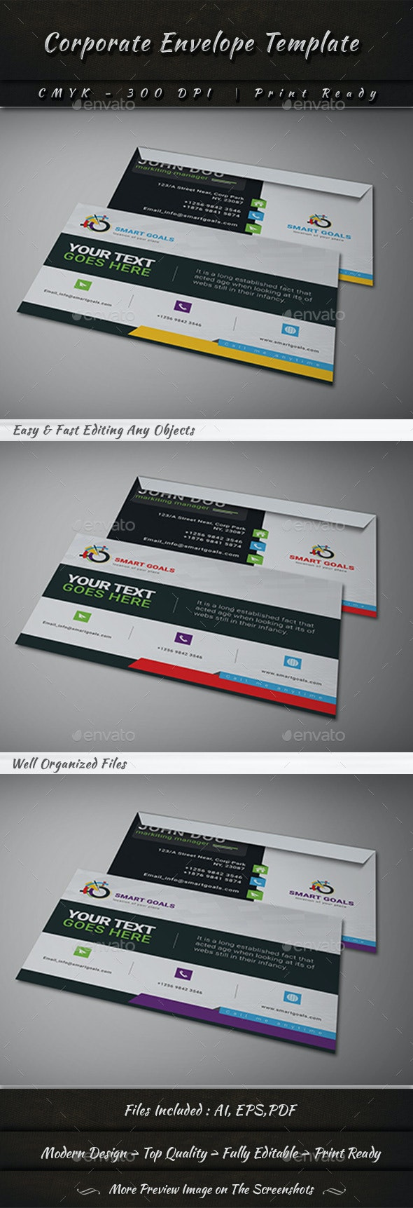 Corporate Envelope Template - Stationery Print Templates