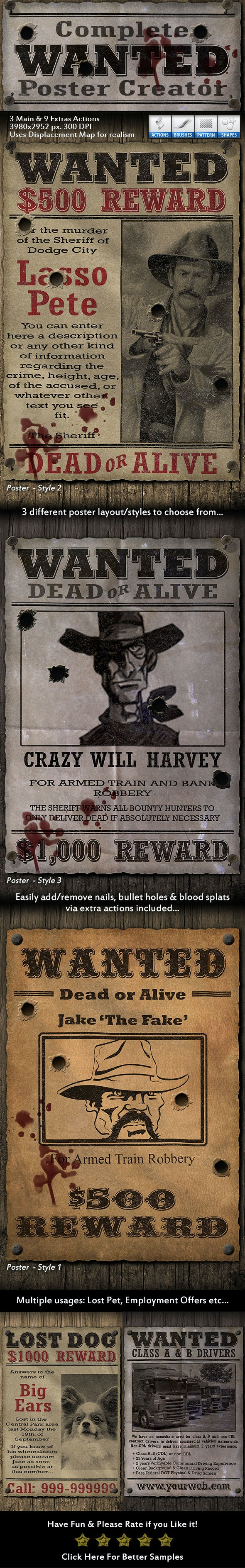 Complete Wanted Poster Creator - Utilities Actions