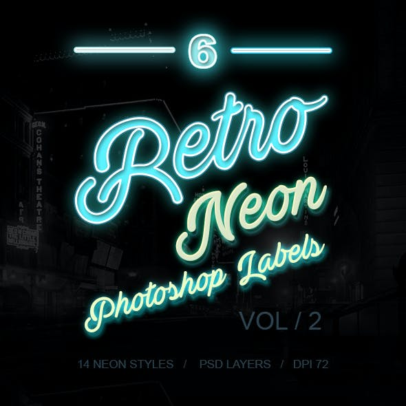 6 Retro Neon Labels