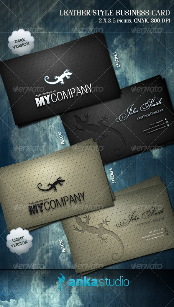 Leather Style Business Card - Retro/Vintage Business Cards