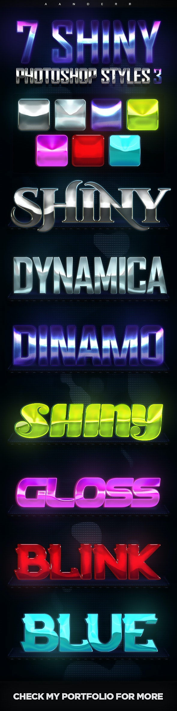 7 Shiny Photoshop Styles 3 - Text Effects Styles
