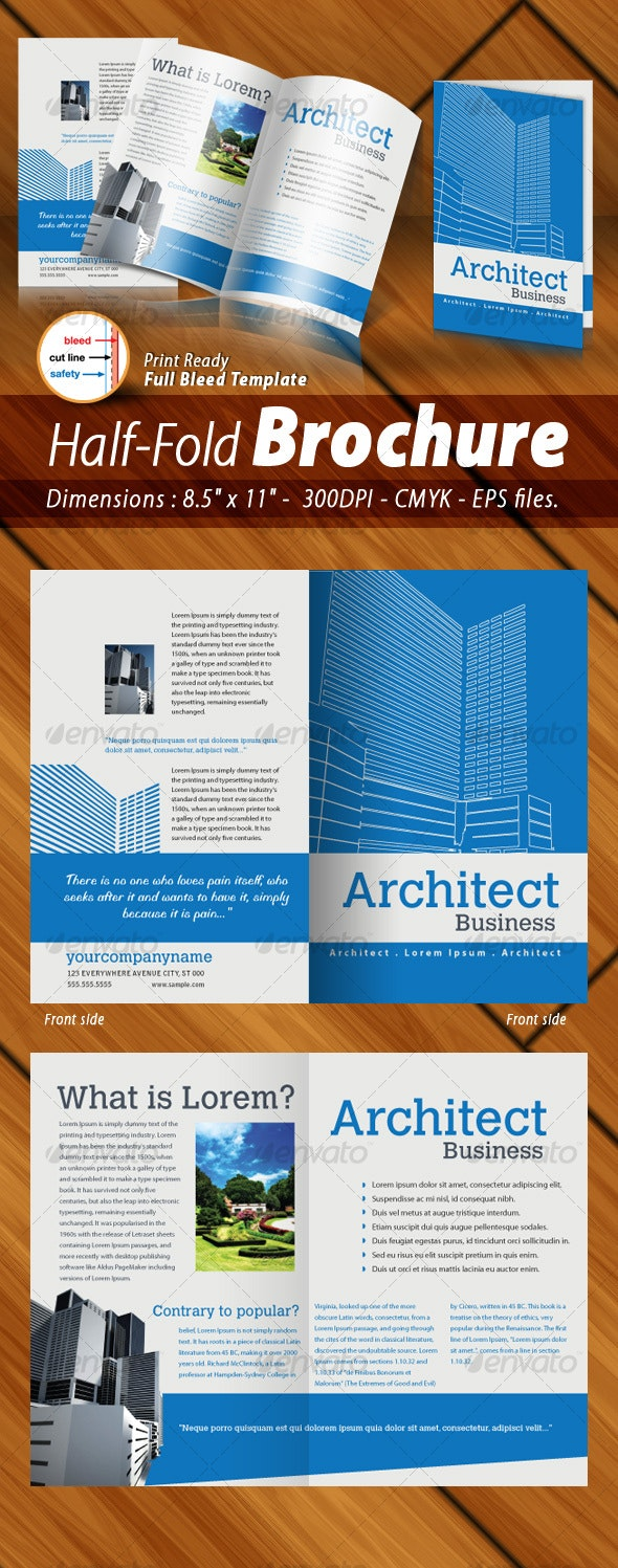 Half-Fold Brochure Panels [ 4 Pages ] Print Ready - Corporate Brochures