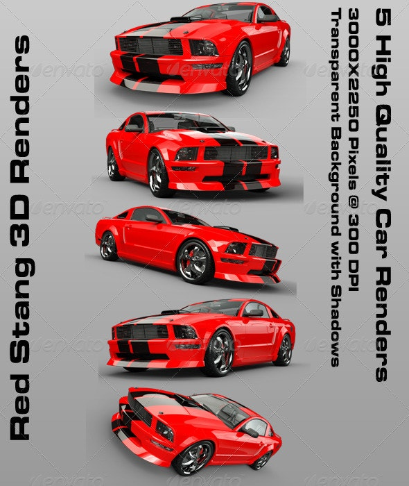 Red Stang 3D Renders - 3D Backgrounds