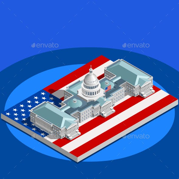 Election Infographic Congress Vector Isometric Building