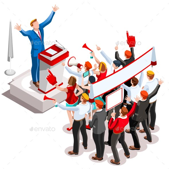 Election Infographic Speaker Podium Vector Isometric People