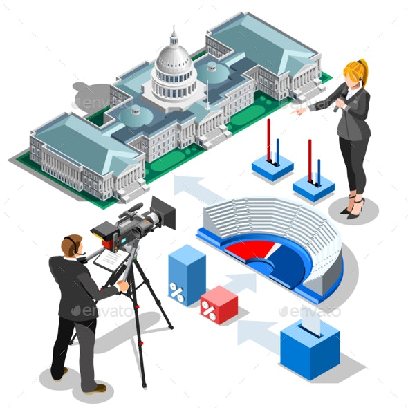 Election Infographic Us Capitol Vector Isometric Building - Vectors