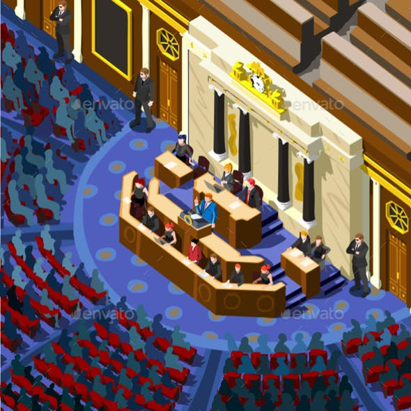 Election Infographic Parliament Hall Vector Isometric People