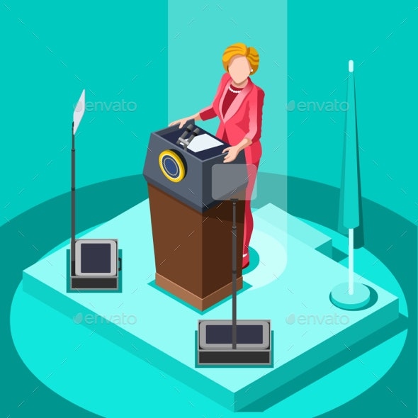 Election Infographic Politic Work Vector Isometric People - Vectors