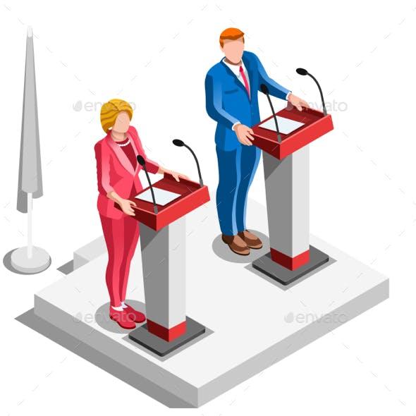 Election Infographic Politics Argue Vector Isometric People