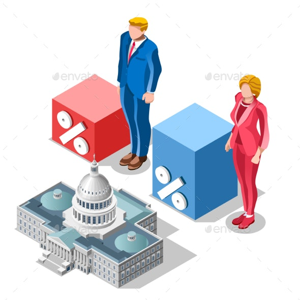 Election Infographic Pools Congress Vector Isometric People - Vectors