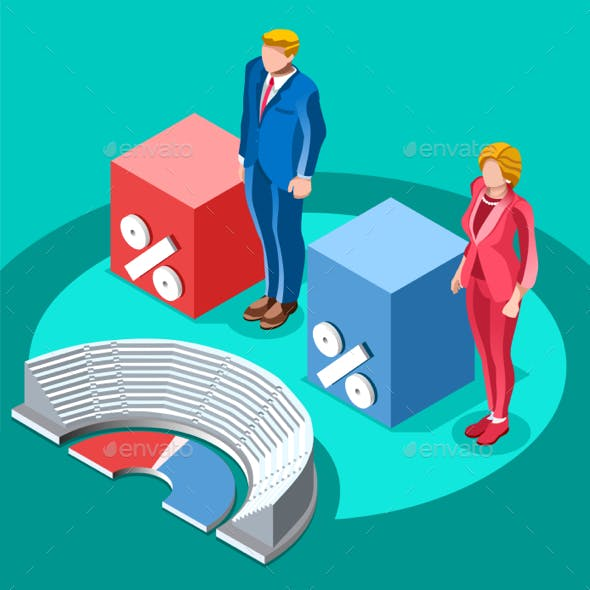 Election Infographic Congress Meeting Vector Isometric People