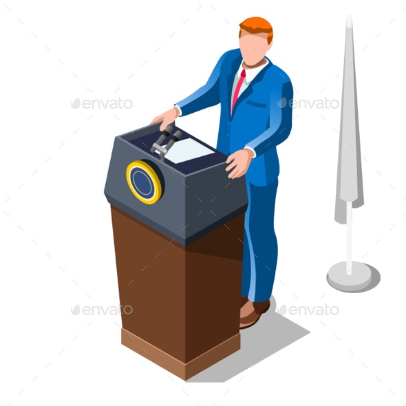 Election Infographic Lecture Theatre Vector Isometric People - Vectors