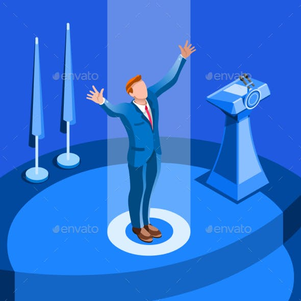 Election Infographic Political Convention Vector Isometric People