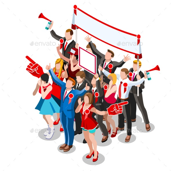 Election Infographic Crowd Conference Vector Isometric People - Vectors