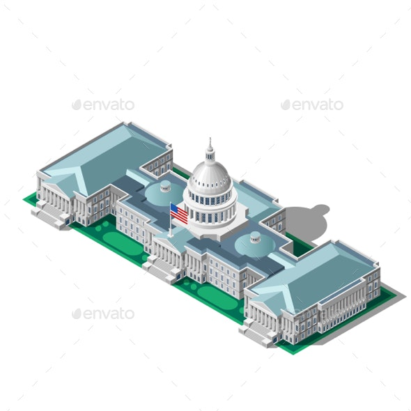 Election Infographic Parliament Vector Isometric Building - Vectors