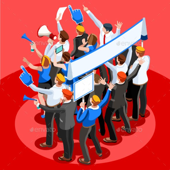 Election Infographic Pulpit Endorsement Vector Isometric People